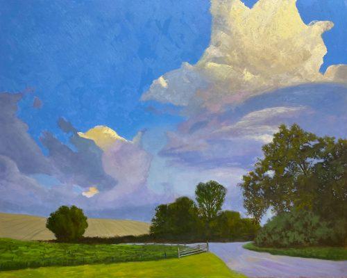 Öl auf Baumwolle, 100x80cm; Inspiration: Ein Foto von Darlene Clarke. Darauf fand ich die Farbigkeit sowie die Wolken spannend.